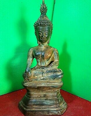 9.5 inches Thai Laos Antique Buddha Phra Au Thong Buddhist Worship Vientiane