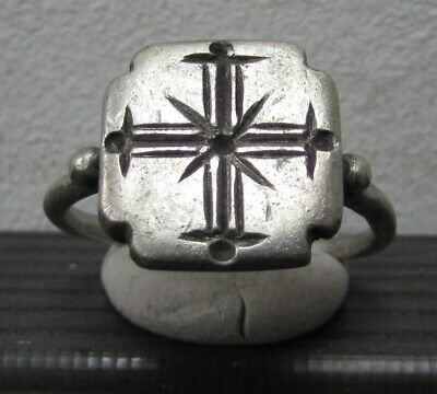 Ancient Silver Byzantine Ring** CROSS **RARE**