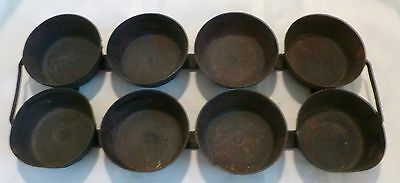 ANTIQUE Country PRIMITIVE Cast Iron MUFFIN TIN Hand Forged