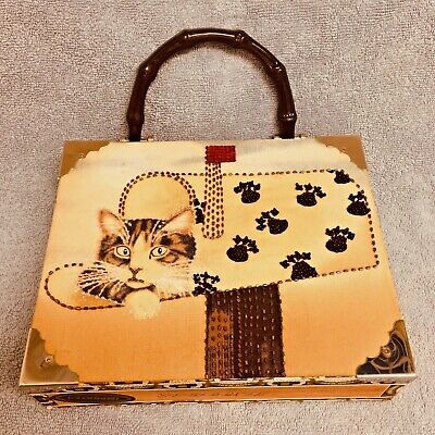 Vintage Looking Art-to-Wear Wooded Cigar Box Purse Mailbox Cat Handmade