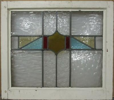 "MIDSIZE OLD ENGLISH LEADED STAINED GLASS WINDOW Geometric Band 23.25"" x 20.5"""