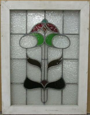 "MIDSIZE OLD ENGLISH LEADED STAINED GLASS WINDOW Pretty Abstract 18.5"" x 24.25"""