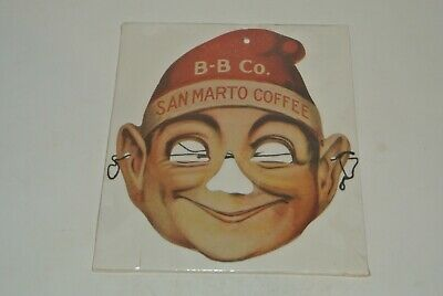 Vintage Antique Paper Mask Elf B-B CO. SAN MARTO COFFEE Advertising Promotional