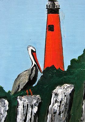 """A484  Original Acrylic Art Aceo Painting By Ljh """"Lighthouse At  Ponce Inlet"""""""
