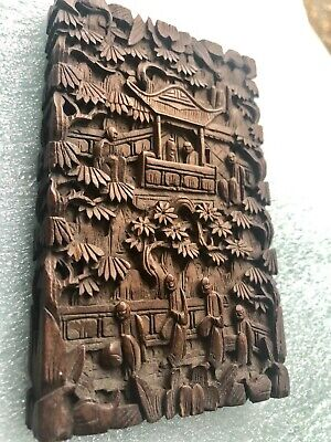 Antique Asian Deep Carved Scenes Hardwood Card Case Box