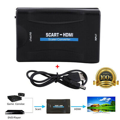 1080P SCART To HDMI Video Audio Adapter Converter Composite for TV DVD Sky Box