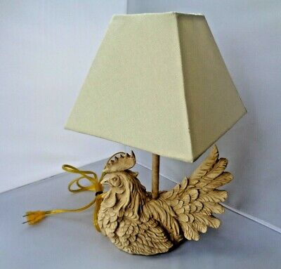 VTG Country Kitchen Chicken Rooster Table Lamp w/Shade Americana Rustic Decor