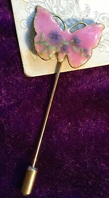Beautiful Vintage 50s baked pink enamel hand painted flower butterfly Stick Pin