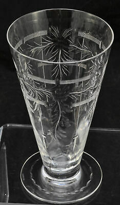 Set of 6 Hawkes Cut and Engraved Glass Footed Tumblers Signed c 1925