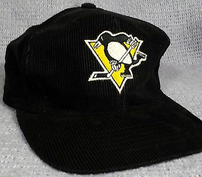 49bc87a80 VTG Pittsburgh Penguins Corduroy Snapback Hat Ted Fletcher NHL Hockey Cap