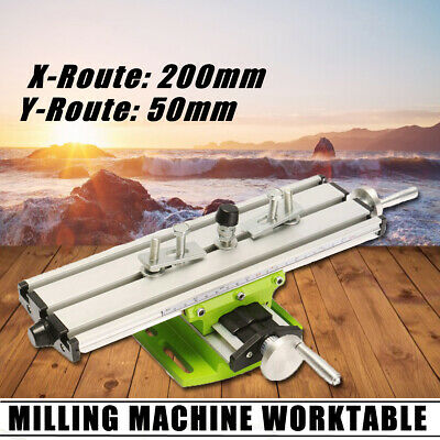 2 Axis Cross Sliding Milling Compound Mini Working Table Bench Drill Vise DIY