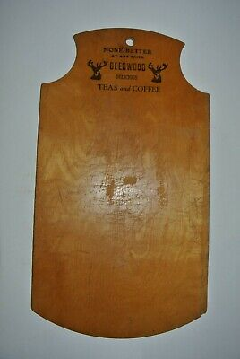 RARE Antique Advertising DEERWOOD TEAS AND COFFEE Wood Cutting Board