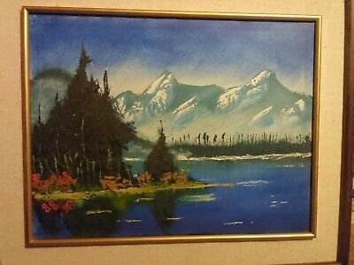 Framed Oil Painting On Canvas - Lake Mountainscape Signed 1988 Estate Find