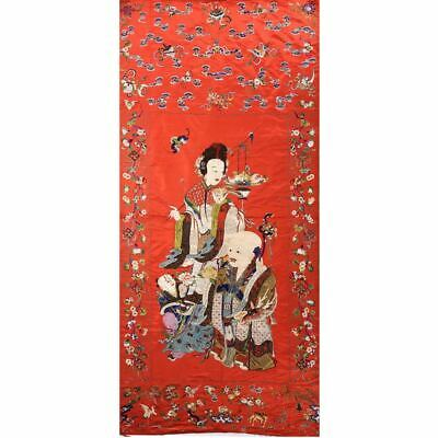 Large ANTIQUE CHINESE SILK EMBROIDERY PANEL with Magu 120 x 55 1/2 inches