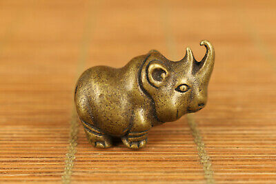 mini old bronze hand casting rhinoceros statue figure collectable home decoratio