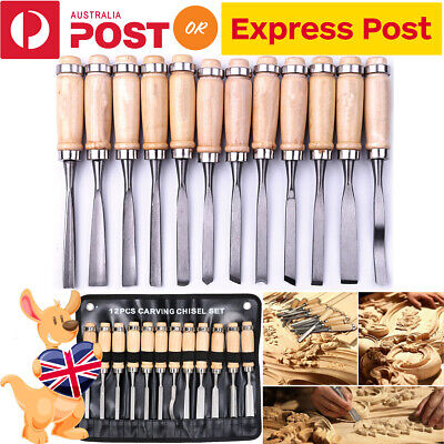 12pcs/set Wood Carving Chisels Knife Hand Woodworking Cutter Tools Kit AU