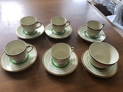 "Vintage Art Deco -Empire ""Shelton "" Demitasse Coffee Sets With Sugar Bowl"