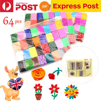 64pcs Malleable Fimo Polymer Clay Soft Modelling DIY Craft Block Plasticine Toys
