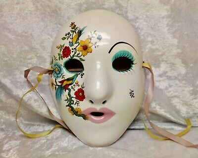 Especially beautiful hand made New Orleans ceramic Mardi Gras Mask-signed Evelyn
