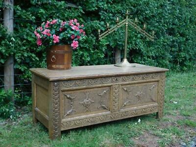 A Good Antique Blonde Country Carved Oak Coffer Or Blanket Chest
