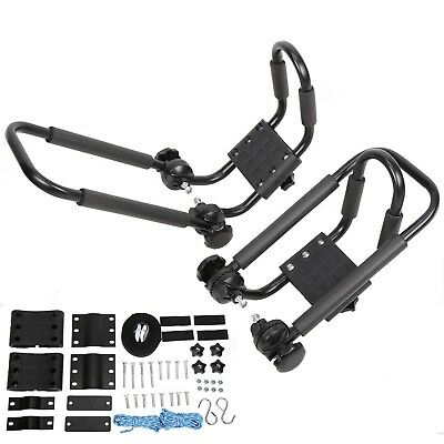 1 Pair Folding Kayak Carrier Boat Canoe Rack Snowboard J-Bar Roof Top Mounted