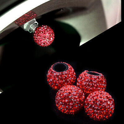 Novelty 4Pcs Red Car Bicycle Motorcycle Tyre Tire Wheel Stem Air Valve Caps