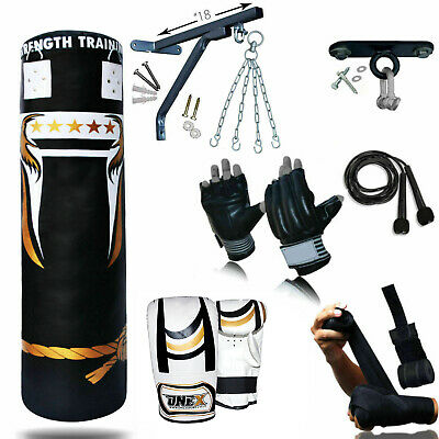 Trainer 3-4-5FT Filled Heavy Punch Bag Buyer Build Set,Chains,Bracket,MMA,Gloves