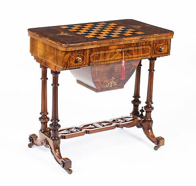 Antique Victorian Burr Walnut & Inlaid Card Games Work Table c.1870