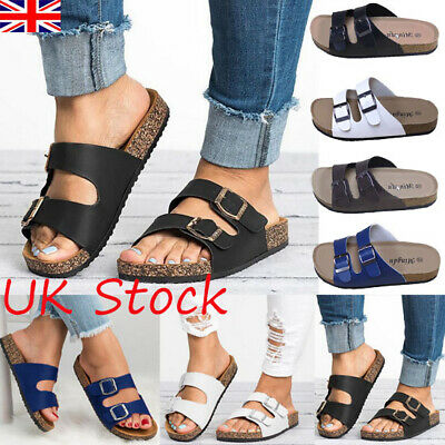 UK Womens Slippers Beach Holiday Summer Sandals Ladies Flats Flip-flops Shoes