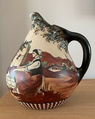 Fine Ciboure Art Deco Pitcher Hand Painted Rustic Scene By Monique Ordoqui c1955