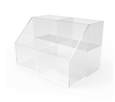 Small Double Wide Tiered Acrylic Bin Plexiglass Lucite Candy Divide Bin Display
