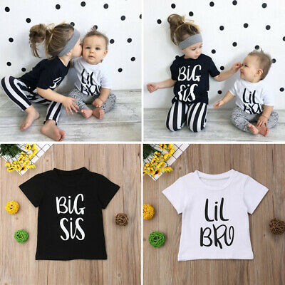 Kids Baby Boy Girl Matching Clothes Tops Tee UK Summer T-shirt-Big Sis//Lil Bro