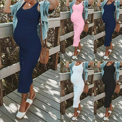 Women Maternity Pregnant Sexy Summer Round Neck Sleeveless Long Midi Vest Dress