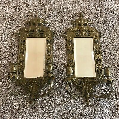 Pair of Ornate Antique Brass Wall Votive Sconces with Mirrors