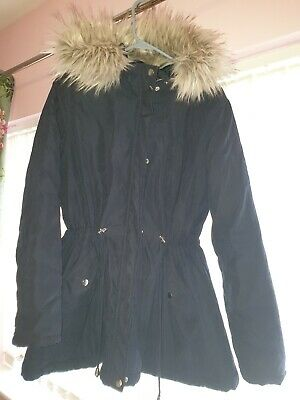 New Look Maternity Coat/Jacket Size 14. Navy Blue Fur Hood