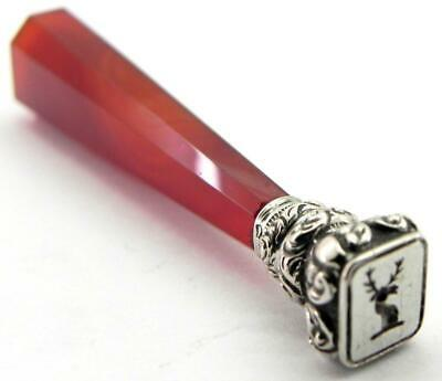 French Antique Solid Silver & Agate Wax Seal, Stags Head Intaglio, c1880.