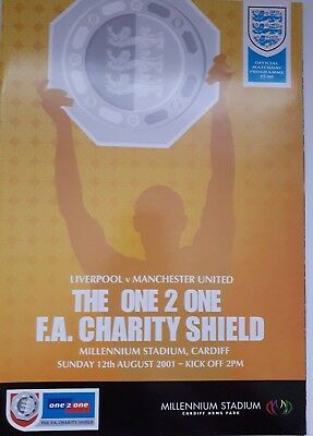 Liverpool FC v Manchester United  2001 Match Programme Charity Shield