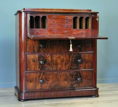 Attractive Large Antique Victorian Mahogany Secretaire Chest Of Four 4 Drawers