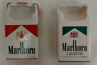 Quirky Kitsch Marlboro Red and Menthol Pair Cereamic Ashtrays (D6)