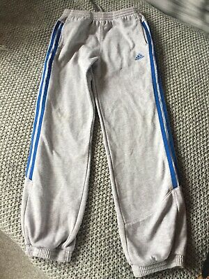 Adidas Boys Grey Joggers With Blue Stripe Size 11/12 Years