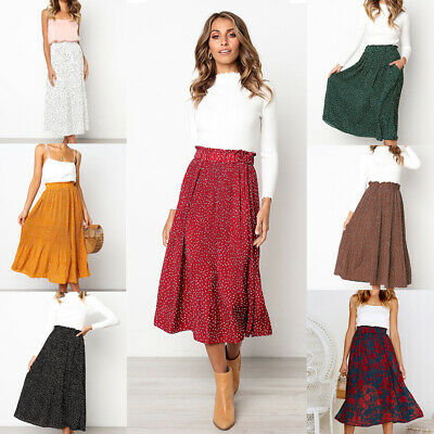 Women Summer Boho Long Maxi Skirt Holiday Beach Casual Skirt Dress With Pocket