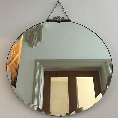 Round Art Deco 1930s Vintage Frameless Bevelled Mirror Fan Top Antique 50cm m244