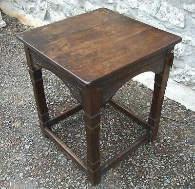Antique solid oak carved lamp TABLE side occasional bedside table refectory rail