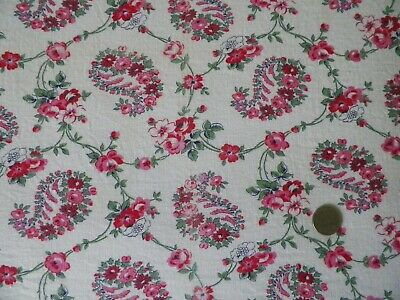 """Vtg 40s Feedsack Red Pink Rose Chains Novelty Paisley Cotton Fabric 38"""" x 42"""" EX"""