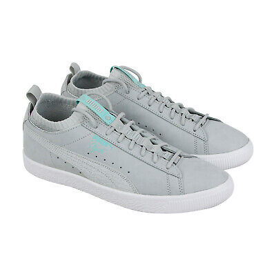 949fa1b2b21b Puma Clyde Sock Lo Diamond Mens Gray Suede Low Top Lace Up Sneakers Shoes 10