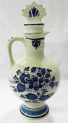 Vtg Gouda Copenhagen bottle hand painted Holland Goedewaagen art pottery