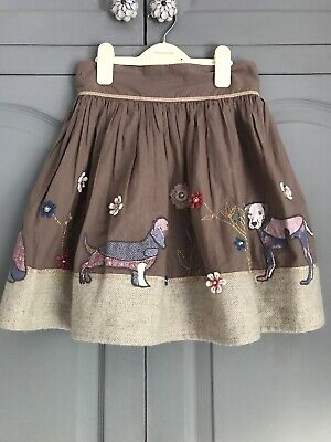 Monsoon Girl Dogs Appliqué  Skirt 12/13 Years