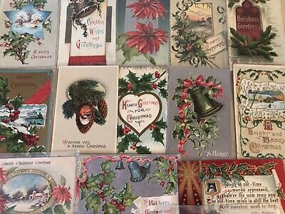 ~Nice Lot of 15 Antique Christmas Postcards-Vintage ~In Protective Sleeves-c-755