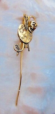 Bookmark Gold Metal Palette/ Painter/Mask Monogram Back Stamped
