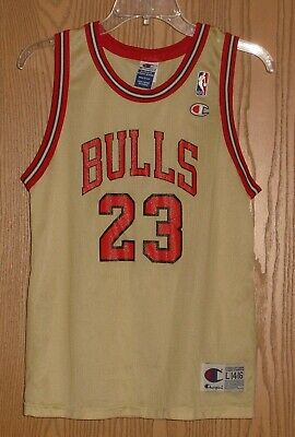 5257ac83ee1 RARE VINTAGE 90's MICHAEL JORDAN YOUTH CHAMPION GOLD JERSEY L 14-16 !!  AWESOME